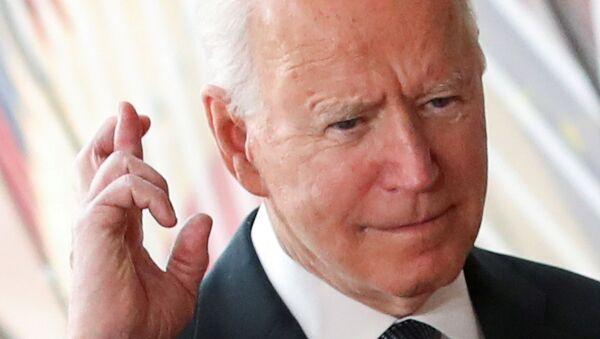 US President Joe Biden gestures as he arrives for the EU-US summit, in Brussels, Belgium June 15, 2021. - Sputnik International