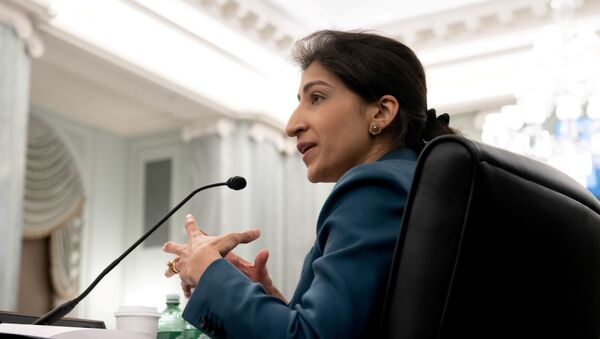 Lina Khan, then-nominee for Commissioner of the Federal Trade Commission (FTC), testifies during a Senate Committee on Commerce, Science, and Transportation confirmation hearing on Capitol Hill in Washington, DC, U.S. April 21, 2021 - Sputnik International