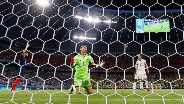 Germany's Manuel Neuer reacts before a goal scored by France's Kylian Mbappe is disallowed for offside, June 15, 2021 - Sputnik International