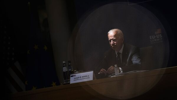 U.S. President Joe Biden listens to comments during the EU-US summit at the European Council building in Brussels, Tuesday, June 15, 2021. - Sputnik International