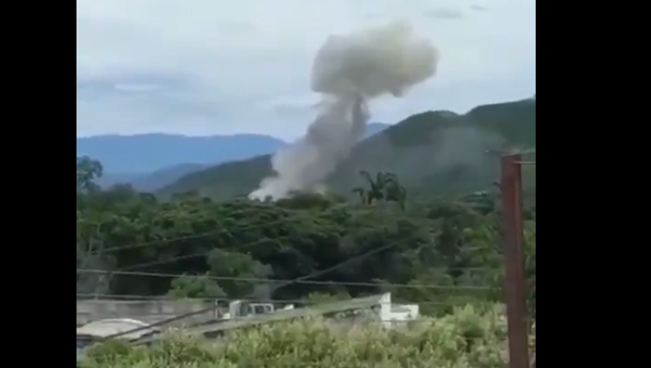Screenshot from a video allegedly showing the moment of explosion at a Colombian Army facility in the city of Cucuta - Sputnik International