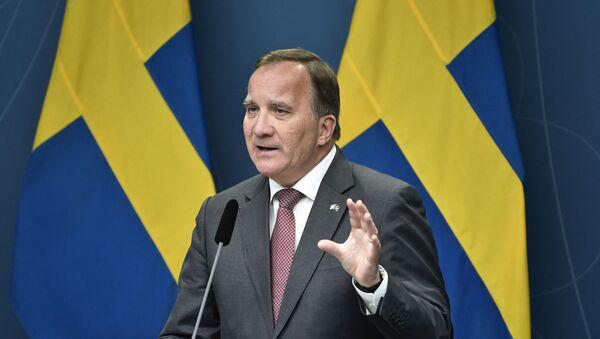 Sweden's Prime Minister Stefan Lofven speaks on June 17, 2021 during a press conference at Rosenbad in Stockholm after the Sweden Democrats' request for a vote on a motion of censure.  - Sputnik International
