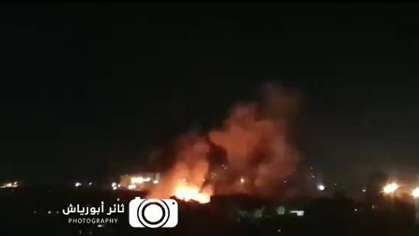 Screenshot from a video allegedly showing the moment an Israeli airstrike targets a Hamas military site in northern Gaza - Sputnik International