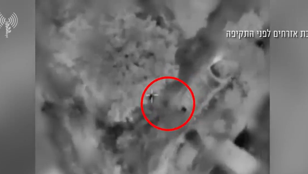 Screenshot from an IDF video showing the Israeli airstrikes conducted in the Gaza Strip on Thursday - Sputnik International