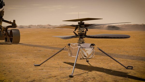 This NASA photo obtained on 23 March 2021 shows an illustration of NASA's Ingenuity Mars helicopter standing on the Red Planet's surface as NASA's Perseverance rover (partially visible on the left) rolls away - Sputnik International