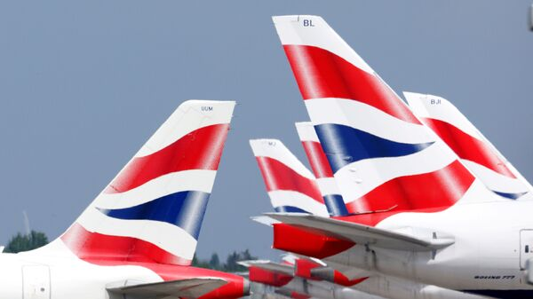 British Airways tail fins are pictured at Heathrow Airport in London, Britain, 17 May 2021 - Sputnik International