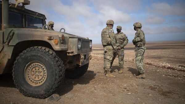 U.S military forces take part in a large scale drill as part of the African Lion military exercise, in Tantan, south of Agadir, Morocco, Friday, June 18, 2021. The U.S.-led African Lion war games, which have lasted nearly two weeks, stretched across Morocco, a key U.S, ally, with smaller exercises held in Tunisia and in Senegal, whose troops ultimately moved to Morocco. (AP Photo/Mosa'ab Elshamy) - Sputnik International