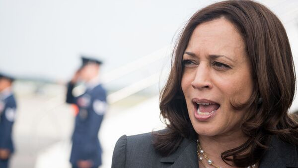 U.S. Vice President Kamala Harris speaks with the media at Hartsfield Jackson International Airport before boarding Air Force Two back to Washington DC on June 18, 2021 in Atlanta, Georgia. Vice President Harris is visiting Atlanta as part of a nationwide tour to encourage Americans to get vaccinated.  - Sputnik International