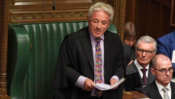 UK Parliament Speaker John Bercow smiling while speaking in the House of Commons in London on October 21, 2019 - Sputnik International
