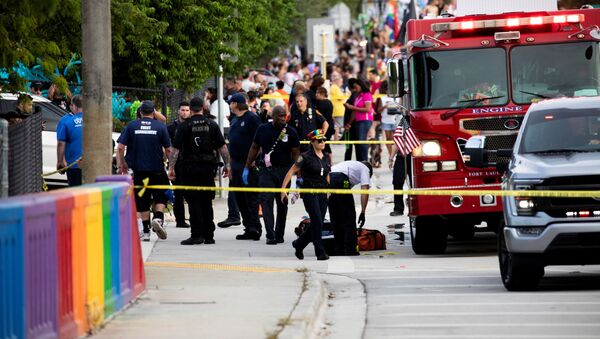 Police and firefighters respond after a truck drove into a crowd of people during The Stonewall Pride Parade and Street Festival in Wilton Manors, Florida, U.S. June 19, 2021 - Sputnik International
