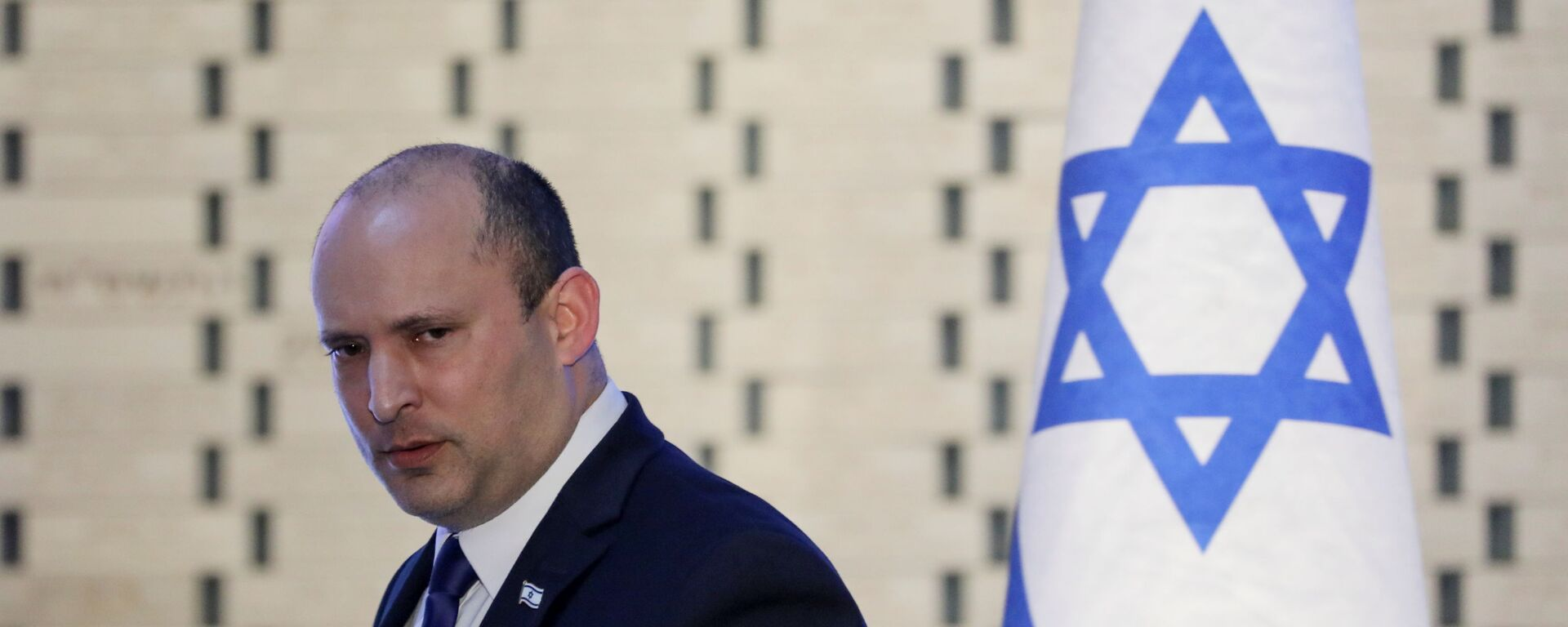 Israeli Prime Minister Naftali Bennett attends a memorial ceremony for soldiers who fell in the 2014 war with Gaza, at the Hall of Remembrance of Mount Herzl military cemetery in Jerusalem June 20, 2021 - Sputnik International, 1920, 22.07.2021