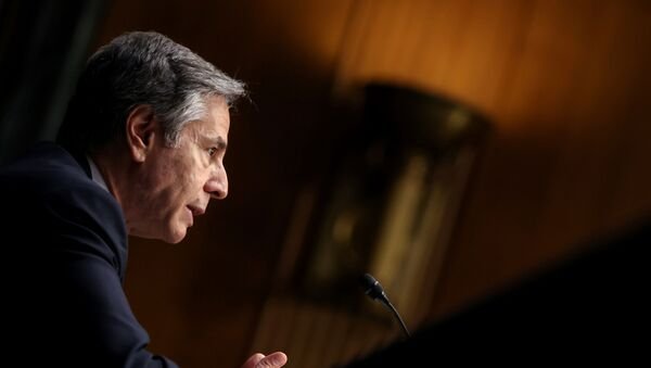 Secretary of State Antony Blinken testifies about the State Department budget before the Senate Appropriations Committee on Capitol Hill in Washington, U.S. June 8, 2021. - Sputnik International