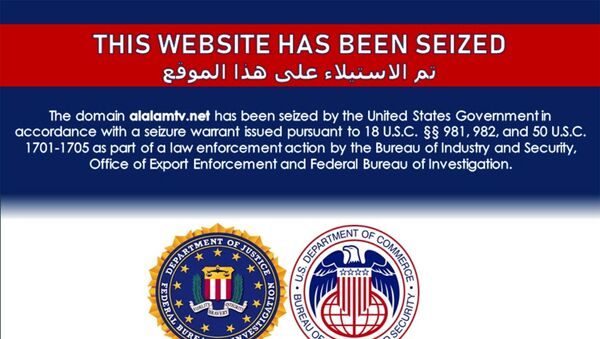 The website of Iran's Arabic language Al Kawtathar television is seen with a notice which appeared on a number of Iran-affiliated websites saying they had been seized by the United States government as part of law enforcement action, in a screenshot taken June 22, 2021.  - Sputnik International