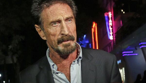 FILE — In this Dec. 12, 2012 file photo, anti-virus software founder John McAfee answers questions to reporters as he walks on Ocean Drive, in the South Beach area of Miami Beach, Fla. - Sputnik International