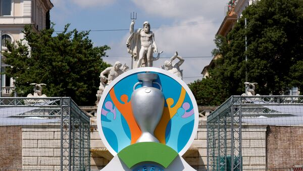 The logo of UEFA Euro 2020 is seen at the fan zone at Piazza del Popolo in Rome, Italy, June 7, 2021 - Sputnik International