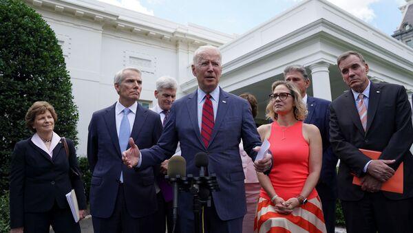 U.S. President Joe Biden speaks following a bipartisan meeting with U.S. senators about the proposed framework for the infrastructure bill, at the White House in Washington, U.S., June 24, 2021. - Sputnik International