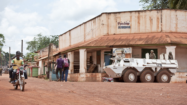 A Patria Pasi armored personnel carrier stands guard as part of the United Nations Multidimensional Integrated Stabilization Mission in the Central African Republic (MINUSCA) - Sputnik International