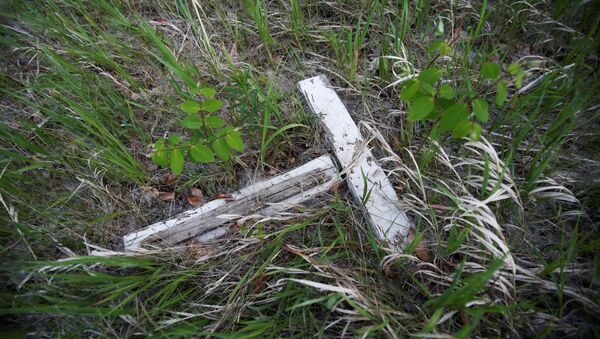 A decaying white cross lies in a small cemetery for children who died at Brandon Indian Residential School near one of three sites where researchers, partnered with the Sioux Valley Dakota Nation, located 104 potential graves in Brandon, Manitoba, Canada June 12, 2021.  - Sputnik International