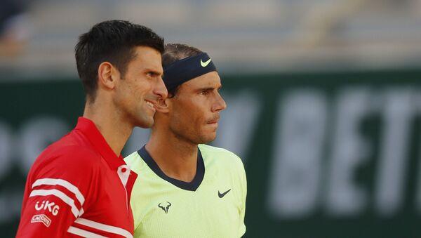 Serbia's Novak Djokovic with Spain's Rafael Nadal before their semi final match  - Sputnik International