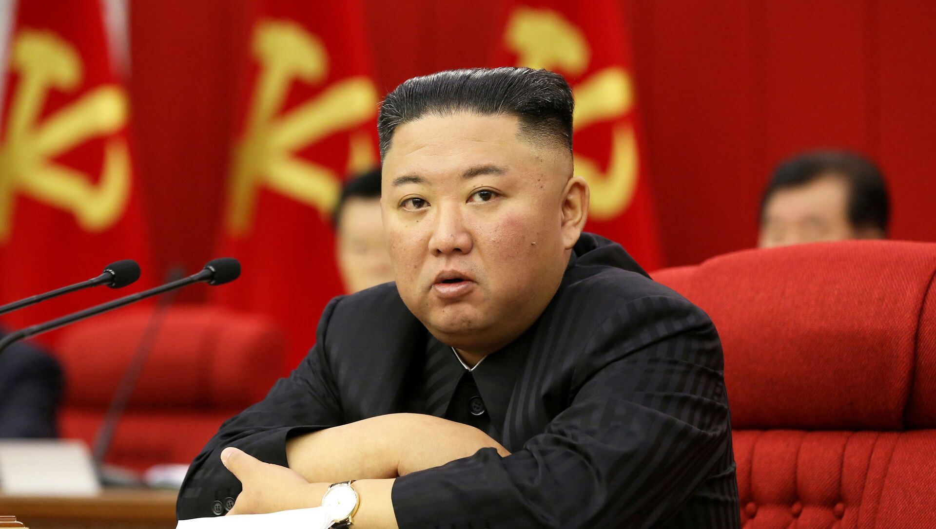 North Korean leader Kim Jong Un speaks at a meeting of the Workers' Party of Korea in Pyongyang, North Korea in this image released 18 June 2021 by the country's Korean Central News Agency. - Sputnik International, 1920, 02.08.2021