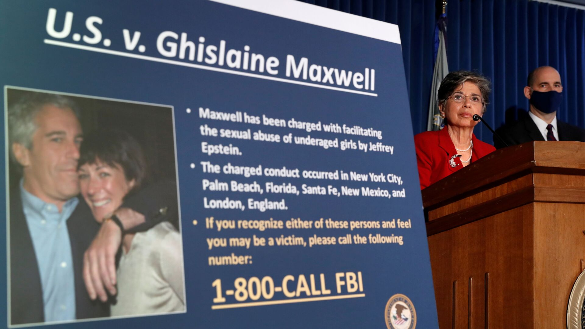 FILE PHOTO: Audrey Strauss, acting U.S. attorney for the Southern District of New York, speaks alongside William F. Sweeney Jr., assistant director-in-charge of the New York Office, at a news conference announcing charges against Ghislaine Maxwell for her alleged role in the sexual exploitation and abuse of minor girls by Jeffrey Epstein in New York City, New York, 2 July 2020 - Sputnik International, 1920, 28.07.2021