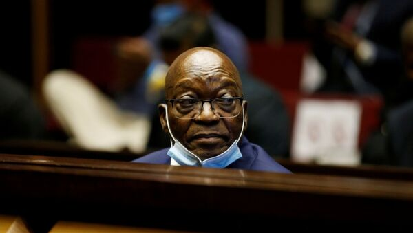 Former South African President Jacob Zuma sits in the dock after recess in his corruption trial in Pietermaritzburg, South Africa, May 26, 2021 - Sputnik International