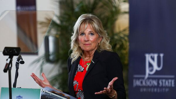 U.S. first lady Jill Biden delivers remarks following a tour of the coronavirus disease (COVID-19) vaccination clinic at Jackson State University in Jackson, Mississippi, U.S., June 22, 2021 - Sputnik International