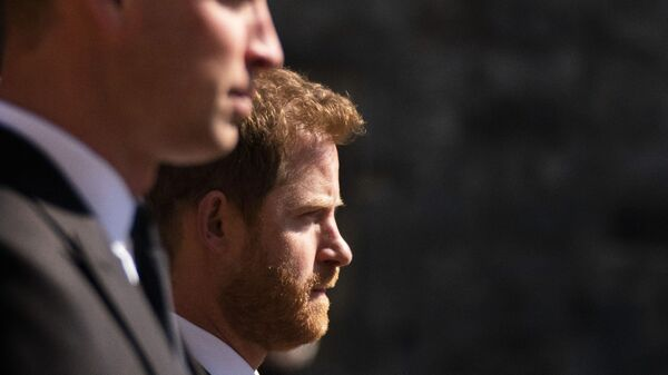 Prince William, the Duke of Cambridge and Prince Harry walk in the procession, ahead of Britain Prince Philip's funeral at Windsor Castle, Windsor, England, Saturday April 17, 2021 - Sputnik International