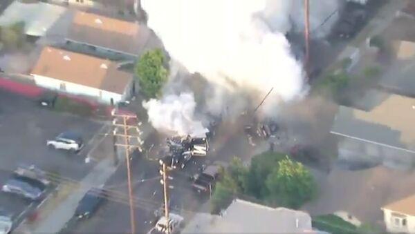 Ariel footage of LAPDHQ  setting off an explosion in South LA - Sputnik International
