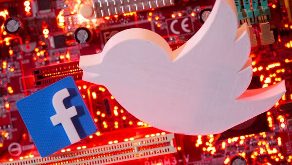3D printed Facebook and Twitter logos are placed on a computer motherboard in this illustration taken Jan. 21, 2021 - Sputnik International
