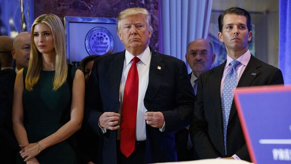 In this Jan. 11, 2017, photo, President-elect Donald Trump, center, stands next to Allen Weisselberg, second from left, Donald Trump Jr., right and Ivanka Trump, left, at a news conference in the lobby of Trump Tower in New York - Sputnik International