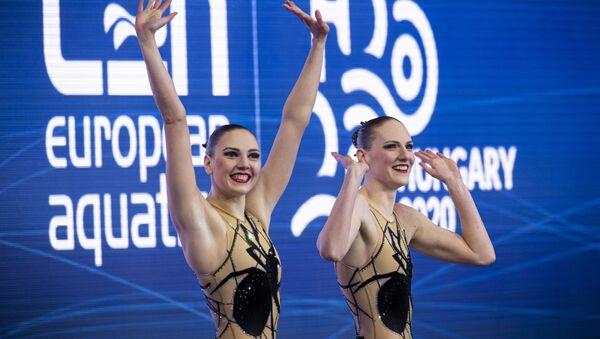 Svetlana Kolesnichenko and Svetlana Romashina at the 2020 European Aquatic Championships in Budapest, Hungary.  - Sputnik International