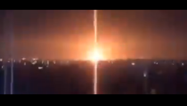 Screenshot from a video allegedly showing the Israeli Defense Forces (IDF) conducting airstrikes against military sites in the Gaza Strip - Sputnik International