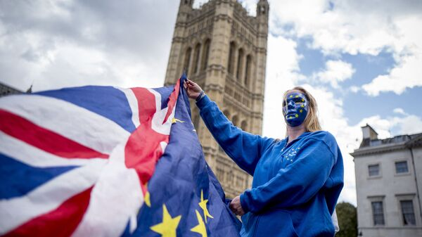 A Pro-European Union protester holds Union and European flags in front of the Victoria Tower at The Palace of Westminster in central London on September 13, 2017, ahead of a rally to warn about the terms of Brexit, by EU nationals in Britain and UK nationals in Europe - Sputnik International