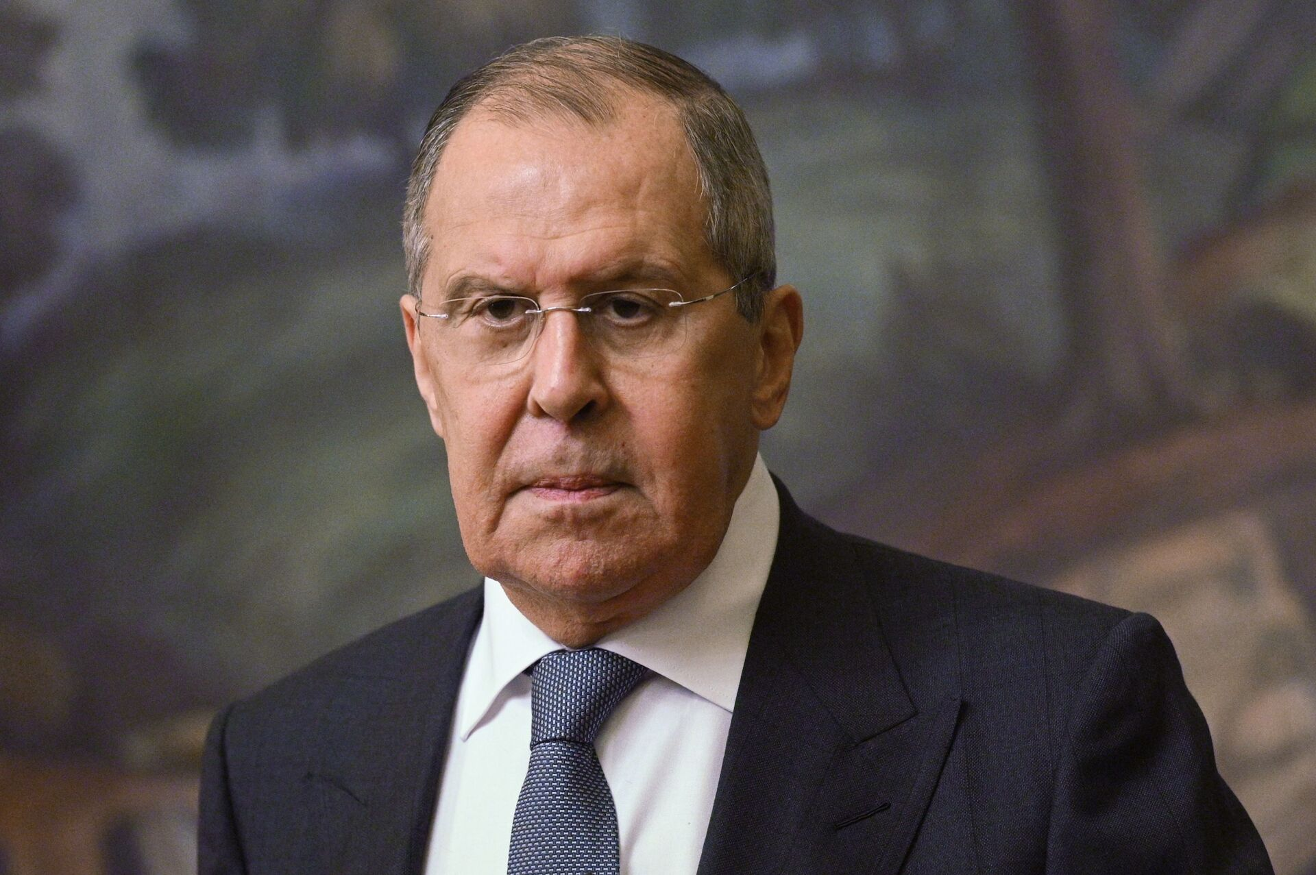 Russian Foreign Minister Sergei Lavrov at a press conference following a meeting in Moscow with the Minister of Foreign Affairs of the Kingdom of Bahrain Abdel Latyf bin Rashid Az-Zayani. - Sputnik International, 1920, 07.09.2021
