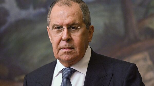 Russian Foreign Minister Sergei Lavrov at a press conference following a meeting in Moscow with the Minister of Foreign Affairs of the Kingdom of Bahrain Abdel Latyf bin Rashid Az-Zayani. - Sputnik International