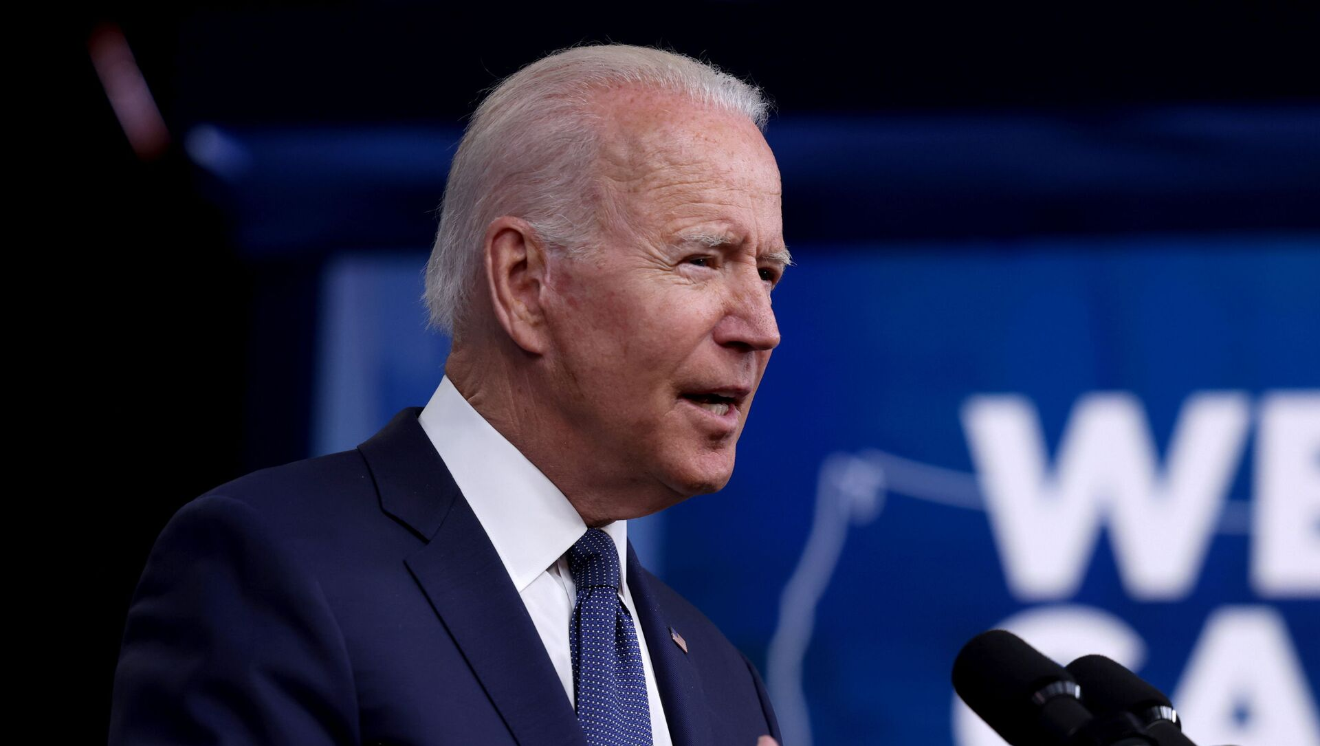 US President Joe Biden delivers remarks on the administration's coronavirus disease (COVID-19) response and the vaccination programme from the Eisenhower Executive Office Building's South Court Auditorium at the White House in Washington, DC, 6 July 2021.  - Sputnik International, 1920, 24.07.2021