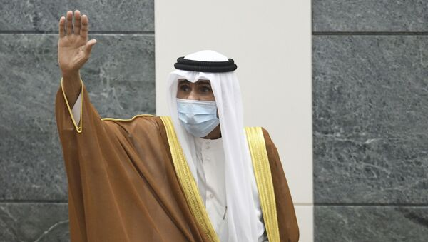 In this Sept. 30, 2020 file photo, the new Emir of Kuwait Sheikh Nawaf Al Ahmad Al Sabah, waves after he was sworn in at the Kuwaiti National Assembly. Kuwait said Thursday, March 4, 2021, that the 83-year-old ruling emir of Kuwait has flown to the United States for medical checks, just months after ascending the throne. - Sputnik International