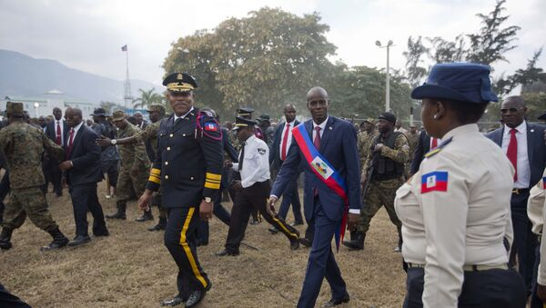 FILE - In this Feb. 7, 2017 file photo, newly sworn-in Haitian President Jovenel Moise walks with Police Chief Michel-Ange Gedeon past National Police at the National Palace after his inauguration ceremony at Parliament in Port-au-Prince, Haiti.  - Sputnik International