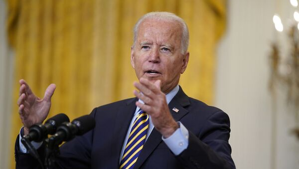 President Joe Biden speaks about the American troop withdrawal from Afghanistan, in the East Room of the White House, Thursday, July 8, 2021, in Washington. - Sputnik International