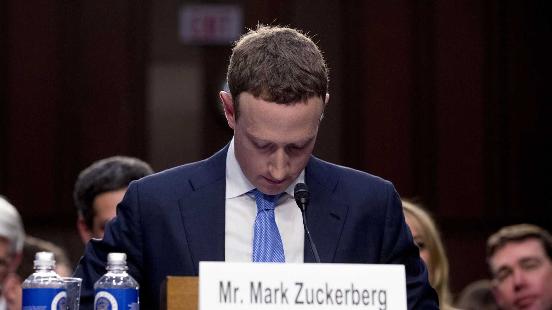 In this April 10, 2018, file photo Facebook CEO Mark Zuckerberg looks down as a break is called during his testimony before a joint hearing of the Commerce and Judiciary Committees on Capitol Hill in Washington. - Sputnik International, 1920, 18.09.2021