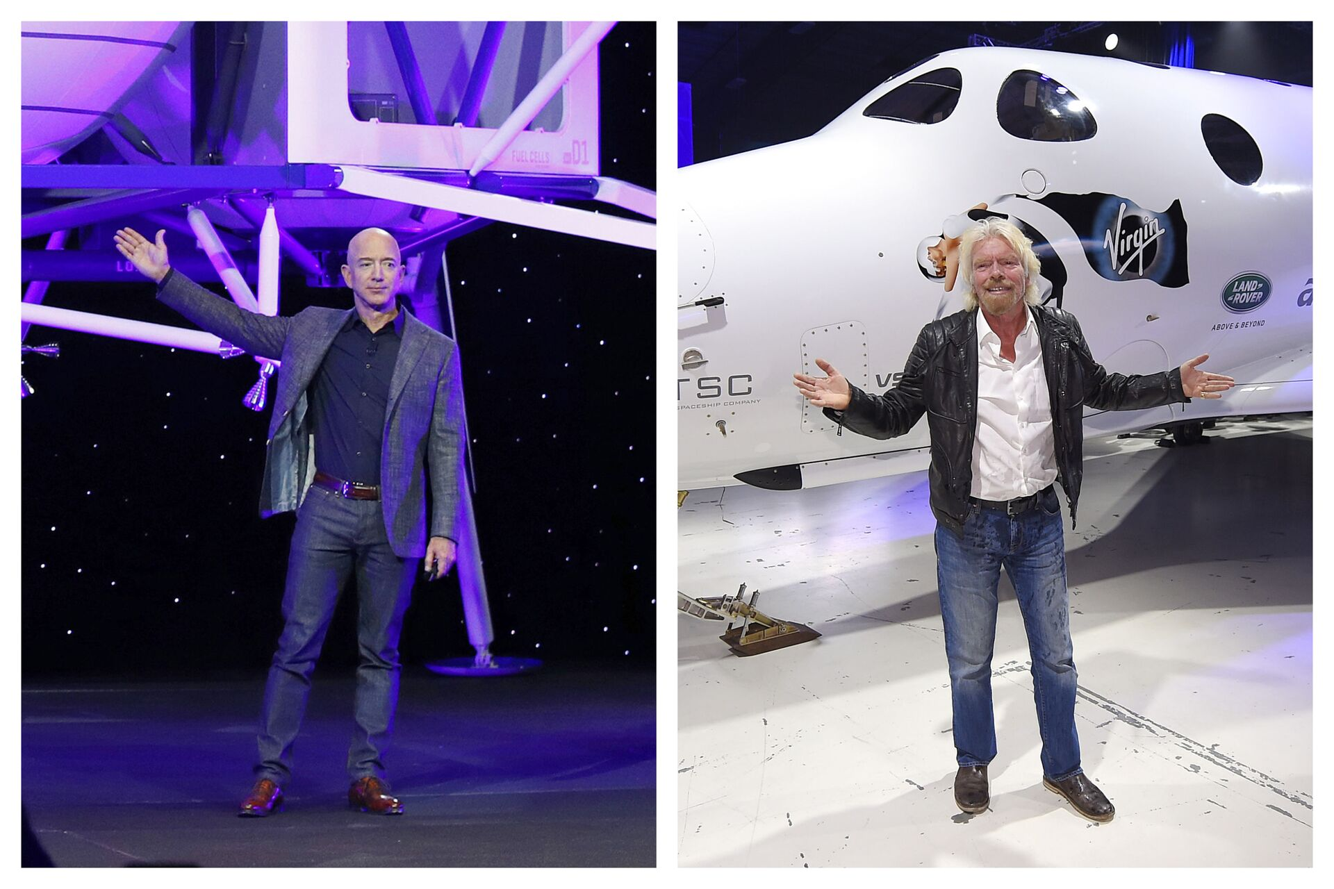 This combination of 2019 and 2016 file photos shows Jeff Bezos with a model of Blue Origin's Blue Moon lunar lander in Washington, left, and Richard Branson with Virgin Galactic's SpaceShipTwo space tourism rocket in Mojave, Calif - Sputnik International, 1920, 20.09.2021