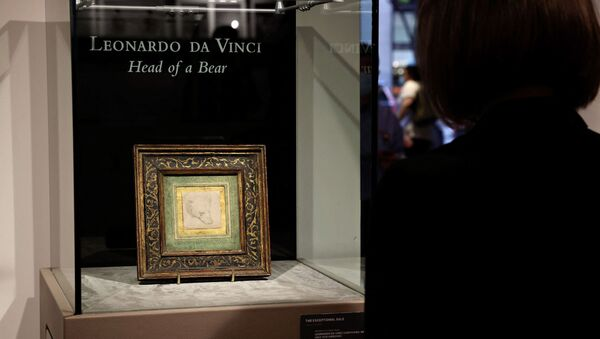 Leonardo da Vinci's 'Head of a Bear' is on display at Christie's on May 11, 2021 in New York City. Christie's will offer the rare 2 ѕ x 2 ѕ inches (7 x 7 cm) silverpoint drawing during a live auction in London on July 8, 2021 - Sputnik International