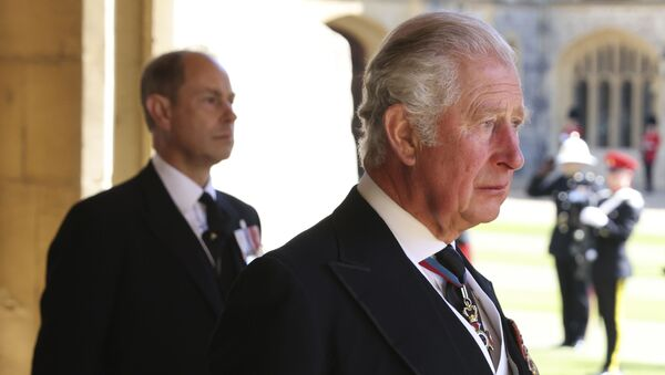 Prince Charles, right, and Prince Edward follow the procession during the funeral of Britain's Prince Philip inside Windsor Castle in Windsor, England, Saturday, April 17, 2021. Prince Philip died April 9 at the age of 99 after 73 years of marriage to Britain's Queen Elizabeth II - Sputnik International
