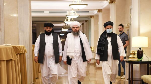 Taliban envoys in Moscow before the start of a press conference. 9 July, 2021. - Sputnik International