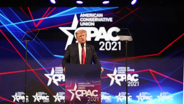 Former president Donald Trump speaks at the Conservative Political Action Conference (CPAC) Sunday, July 11, 2021, in Dallas. - Sputnik International