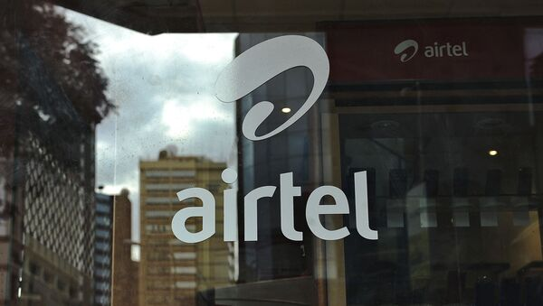 The logo of giant mobile- telecommunications service provider 'Airtel' is branded on a shop window on May 20, 2011 in the Kenyan capital, Nairobi - Sputnik International