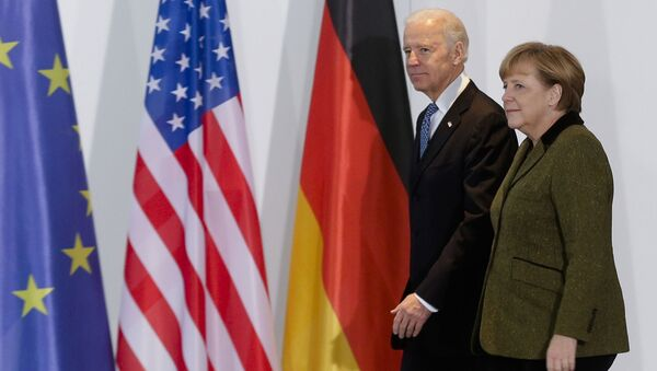 In this Feb. 1, 2013 file photo, German Chancellor Angela Merkel, right, and U.S. Vice President Joe Biden walk at the chancellery in Berlin, Germany. On Biden's first foreign trip as president, he will find many of his hosts in Europe welcoming but wary after a tense four years between Europe and the U.S. under former President Donald Trump. (AP Photo/Markus Schreiber, File) - Sputnik International