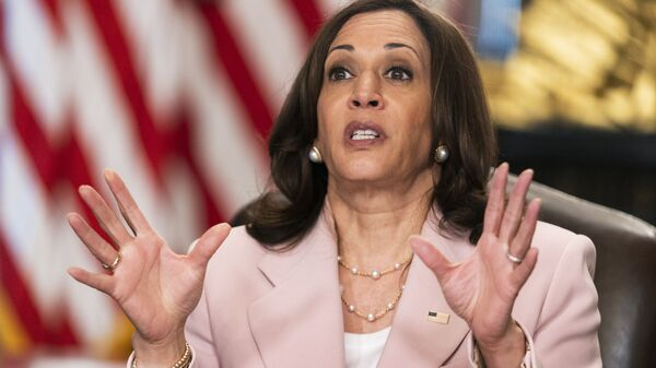 Vice President Kamala Harris speaks during a roundtable with disabilities advocates on voting rights in the Vice President's Ceremonial Office at the Eisenhower Executive Office Building on the White House complex, Wednesday, July 14, 2021, in Washington - Sputnik International