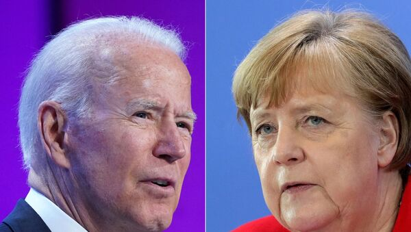 This combination of pictures created on July 14, 2021 shows US President Joe Biden in Washington, DC on July 2, 2021 and German Chancellor Angela Merkel in Berlin on May 6, 2020. - US President Joe Biden will participate in a bilateral meeting with Dr. Angela Merkel, Chancellor of the Federal Republic of Germany on July 15 in Washington DC, this visit will affirm the deep and enduring bilateral ties between the United States and Germany. - Sputnik International
